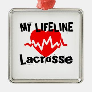 Ornement Carré Argenté Ma ligne de vie lacrosse folâtre des conceptions