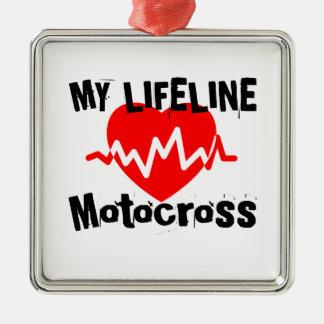 Ornement Carré Argenté Ma ligne de vie motocross folâtre des conceptions