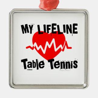 Ornement Carré Argenté Ma ligne de vie ping-pong folâtre des conceptions