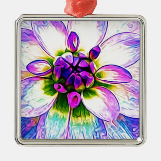 Ornement Carré Argenté Macro floral pourpre de fleur de pétales de fleur