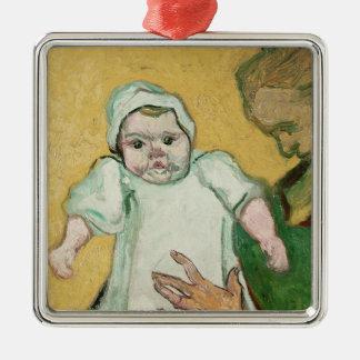 Ornement Carré Argenté Madame Roulin et son bébé de Vincent van Gogh  