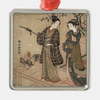 Ornement Carré Argenté Madame vintage japonaise Woman Maiko de geisha de