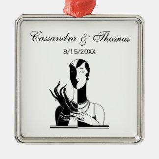 Ornement Carré Argenté Madame vintage With Pearls Black Transp d'art déco