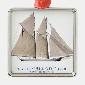 Ornement Carré Argenté Magie 1870