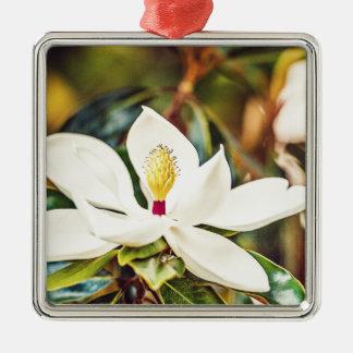 Ornement Carré Argenté Magnolia magnifique du Mississippi