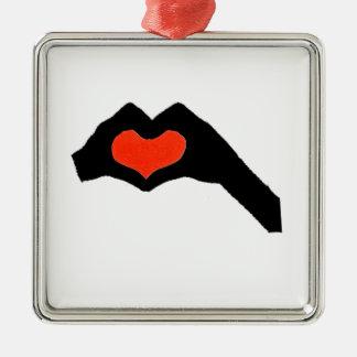 Ornement Carré Argenté main heart2