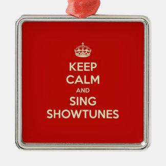 Ornement Carré Argenté Maintenez calme et chantez Showtunes