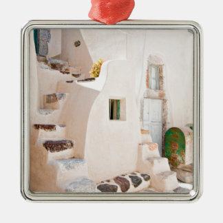 Ornement Carré Argenté Maison dans Santorini