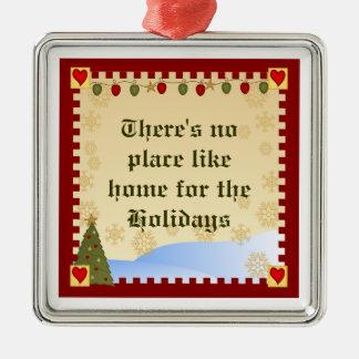 Ornement Carré Argenté Maison pour l'ornement de Noël des vacances |