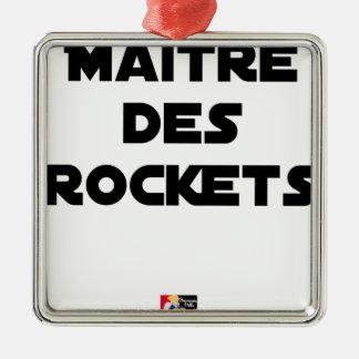Ornement Carré Argenté MAÎTRE DES ROCKETS - Jeux de mots - Francois Ville