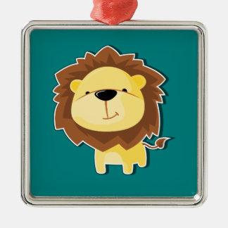 Ornement Carré Argenté Mâle heureux de lion de bande dessinée avec