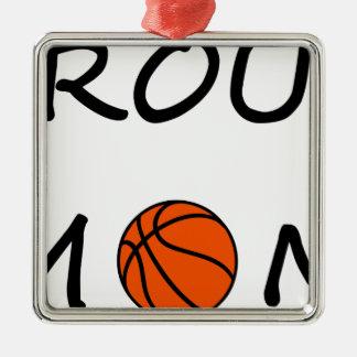 Ornement Carré Argenté Maman de basket-ball