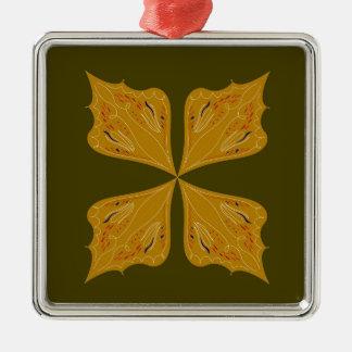 Ornement Carré Argenté Mandala d'or sur l'olive