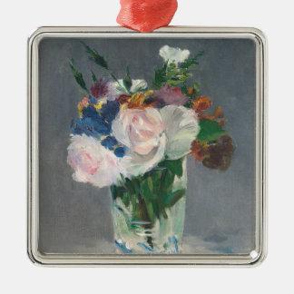 Ornement Carré Argenté Manet | fleurit dans un vase en cristal, c.1882