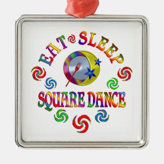 Ornement Carré Argenté Mangez la danse carrée de sommeil