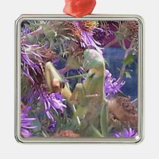 Ornement Carré Argenté Mante attaquante et fleurs pourpres de cône