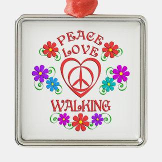 Ornement Carré Argenté Marche d'amour de paix