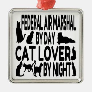 Ornement Carré Argenté Maréchal d'air fédéral d'amoureux des chats