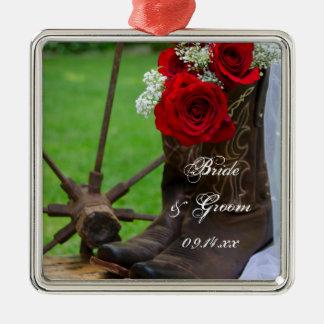 Ornement Carré Argenté Mariage occidental de pays rustique de roses