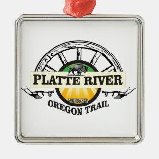 Ornement Carré Argenté marqueur d'ot de la rivière Platte