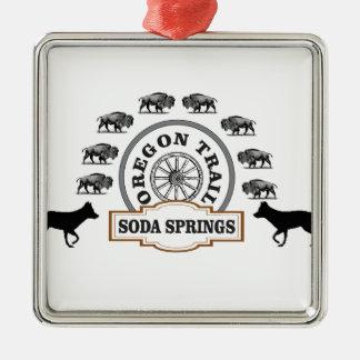 Ornement Carré Argenté marqueur d'ot de Soda Springs