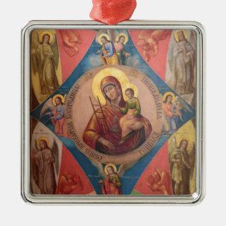 Ornement Carré Argenté Mary, Jésus, et anges