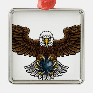 Ornement Carré Argenté Mascotte de roulement de sports d'Eagle