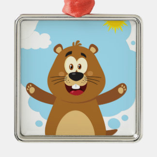 Ornement Carré Argenté Mascotte heureuse de bande dessinée de Marmot