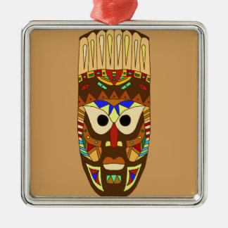 Ornement Carré Argenté masque africain traditionnel