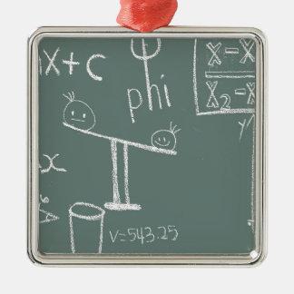 Ornement Carré Argenté mathématiques sur le vert