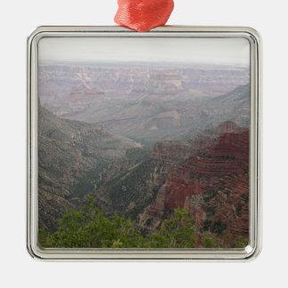 Ornement Carré Argenté Matin brumeux de canyon grand, Arizona