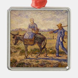 Ornement Carré Argenté Matin de Vincent van Gogh |, sortant pour