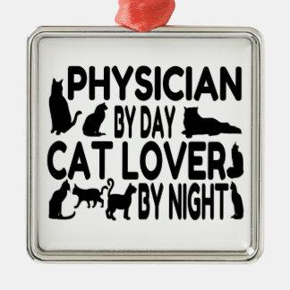 Ornement Carré Argenté Médecin d'amoureux des chats
