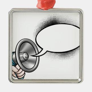 Ornement Carré Argenté Mégaphone de bulle de la parole de bande dessinée
