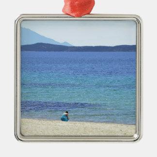 Ornement Carré Argenté Mer de bleu de vacances de vacances