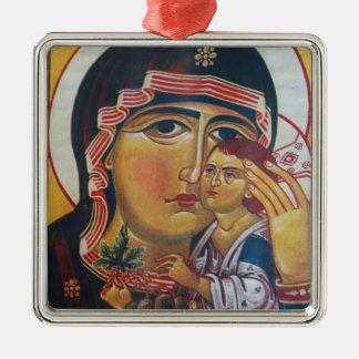 Ornement Carré Argenté Mère Mary et art de Jésus