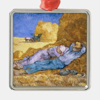 Ornement Carré Argenté Midi de Vincent van Gogh  , la sièste, après