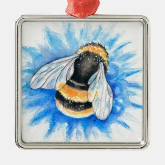 Ornement Carré Argenté Mignon gaffez l'art d'aquarelle d'abeille