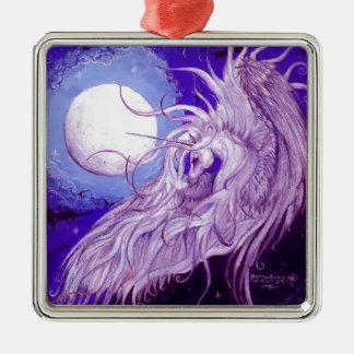 Ornement Carré Argenté Mignon pourpre magique de lune de licorne de noir