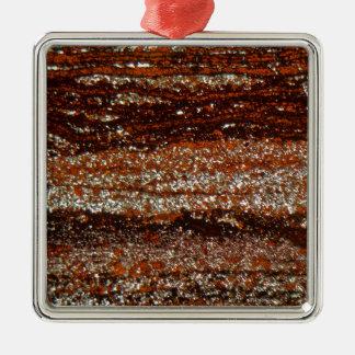 Ornement Carré Argenté Minerai de fer sous le microscope