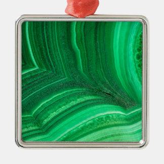 Ornement Carré Argenté Minerai vert clair de malachite