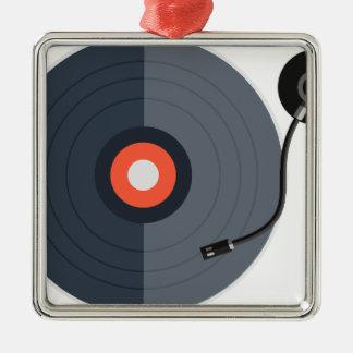 Ornement Carré Argenté mode record d'art de musique