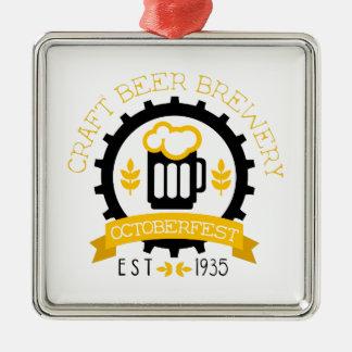 Ornement Carré Argenté Modèle de conception de logo de bière avec la