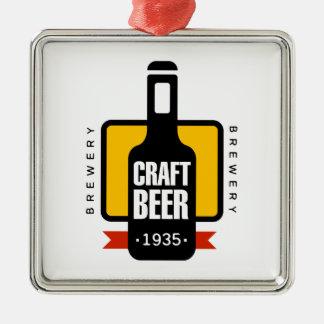Ornement Carré Argenté Modèle de conception de logo de bière de métier