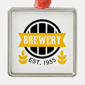 Ornement Carré Argenté Modèle de conception de logo de brasserie