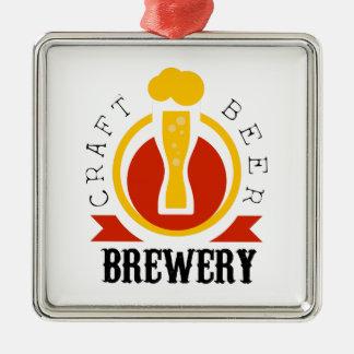 Ornement Carré Argenté Modèle de conception de logo de brasserie de bière