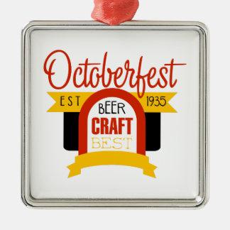 Ornement Carré Argenté Modèle de conception de logo d'Oktoberfest
