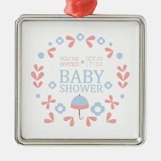 Ornement Carré Argenté Modèle floral de conception d'invitation de baby