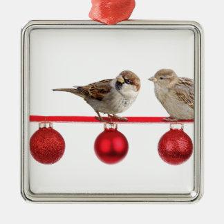 Ornement Carré Argenté Moineaux d'oiseaux de Noël