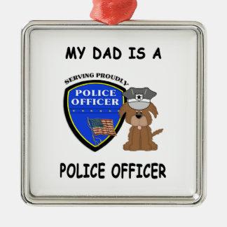 Ornement Carré Argenté Mon papa de police